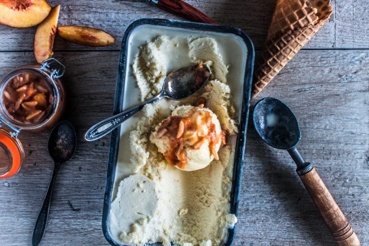 Smoked Peach Brown Butter Frozen Custard