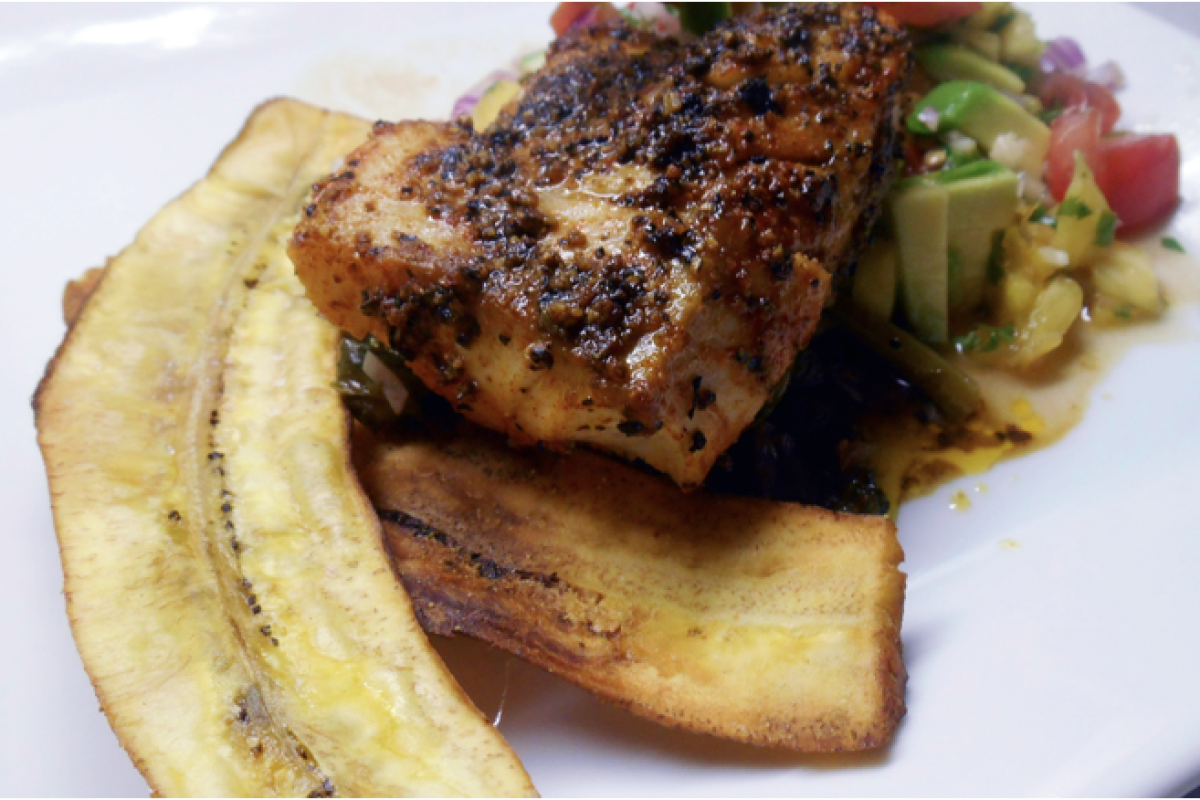 Blackened Cod With Plantain Chips and Pineapple Avocado Salad