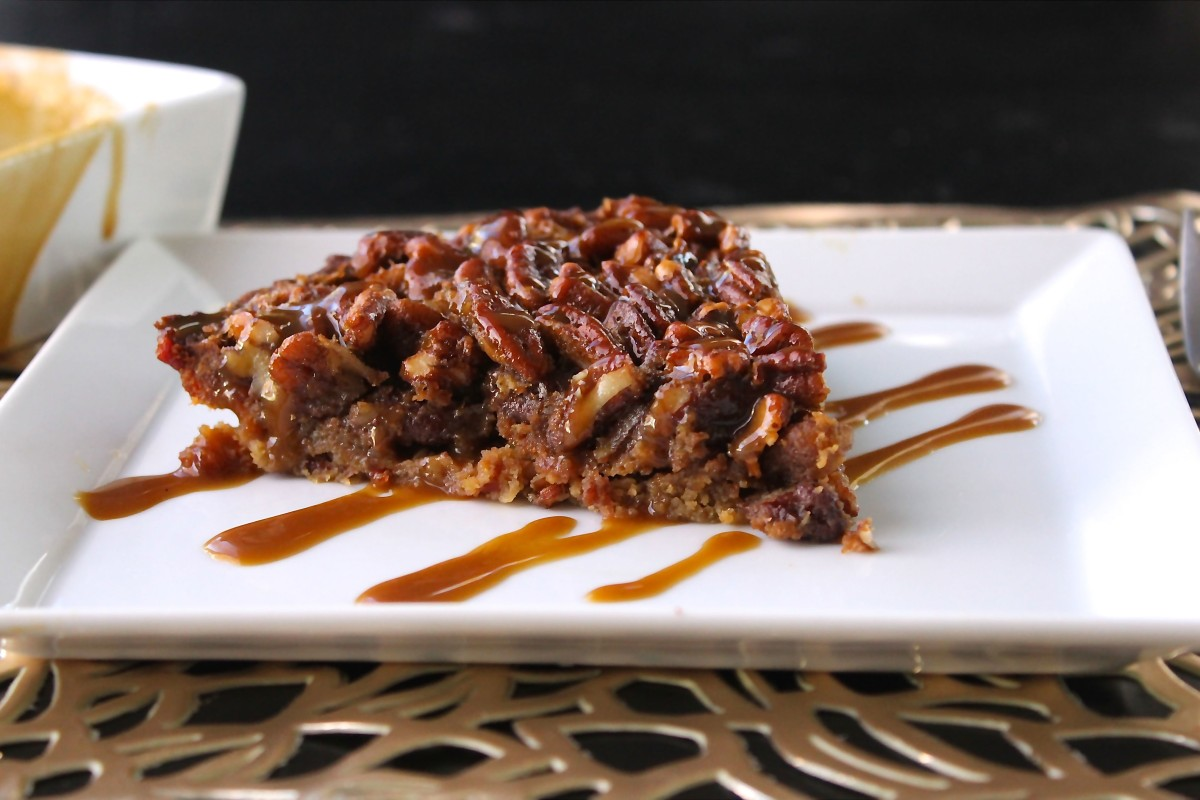 Paleo Pecan Pie With Bacon Crust and Caramel Drizzle
