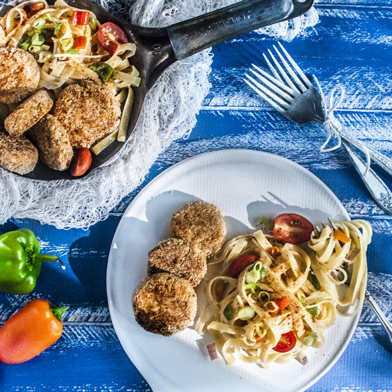 Paleo Tuna Cake Fettuccine - Unlike your traditional Cajun foods, this recipe is appetizing, light, and refreshing. It is the perfect summer pasta dish. #paleo #certifiedpaleo