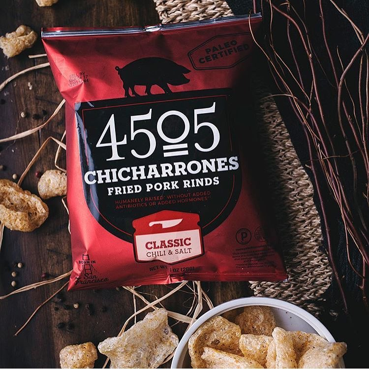 Classic Chili & Salt Chicharrones - 4505 Meats is a burgers and BBQ joint which is a Producer of all things meaty. 4505 Meats is dedicated to flavor and quality, adding our own unique touches to create exceptional meaty products. #paleo #certifiedpaleo