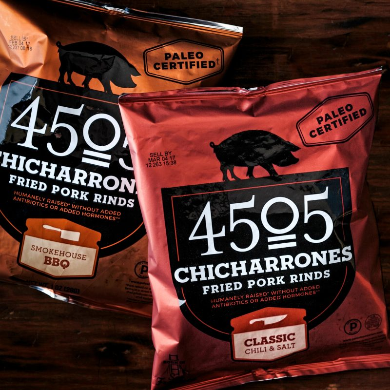 Classic Chili & Salt + Smokehouse BBQ 4505 Chicharrones - 4505 Meats is a burgers and BBQ joint which is a Producer of all things meaty. 4505 Meats is dedicated to flavor and quality, adding our own unique touches to create exceptional meaty products. #paleo #certifiedpaleo