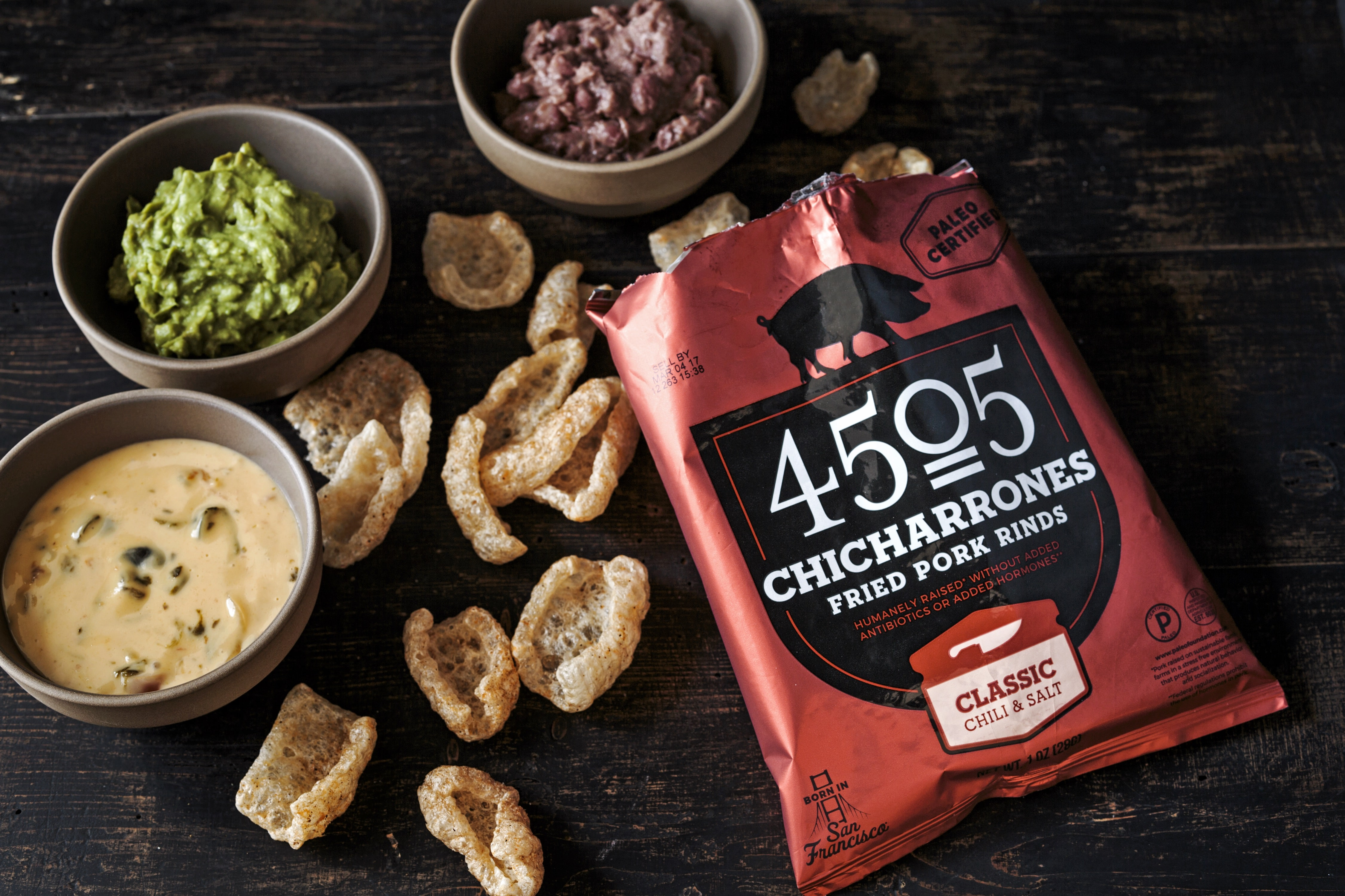Classic Chili & Salt - 4505 Chicharrones - 4505 Meats is a burgers and BBQ joint which is a Producer of all things meaty. 4505 Meats is dedicated to flavor and quality, adding our own unique touches to create exceptional meaty products. #paleo #certifiedpaleo