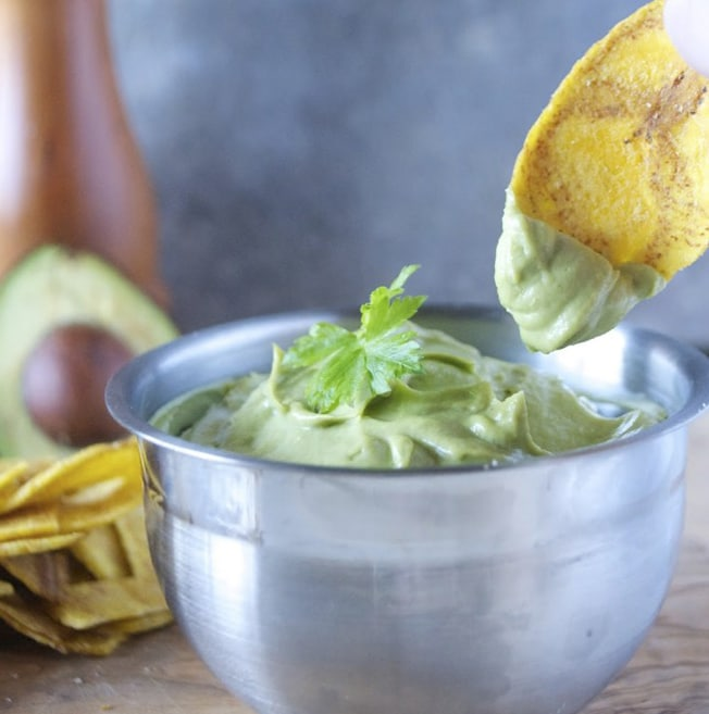 Avocado Hummus - Artisan Tropic is a family with a passion for making the best tasting and most nutritious plantain and cassava chips. Artisan Tropic Plantain Strips and Cassava Strips contain only three ingredients or less! They have no preservatives or artificial flavors. #paleo #certifiedpaleo #paleovegan