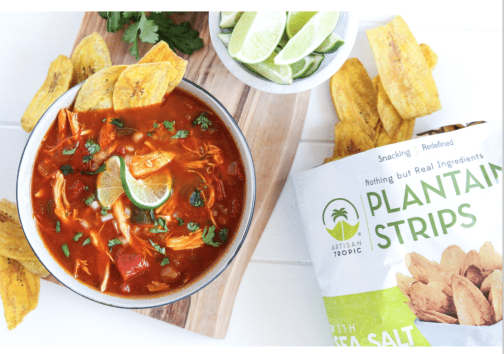 Tortilla Soup with Plantain Chips - Artisan Tropic is a family with a passion for making the best tasting and most nutritious plantain and cassava chips. Artisan Tropic Plantain Strips and Cassava Strips contain only three ingredients or less! They have no preservatives or artificial flavors. #paleo #certifiedpaleo #paleovegan