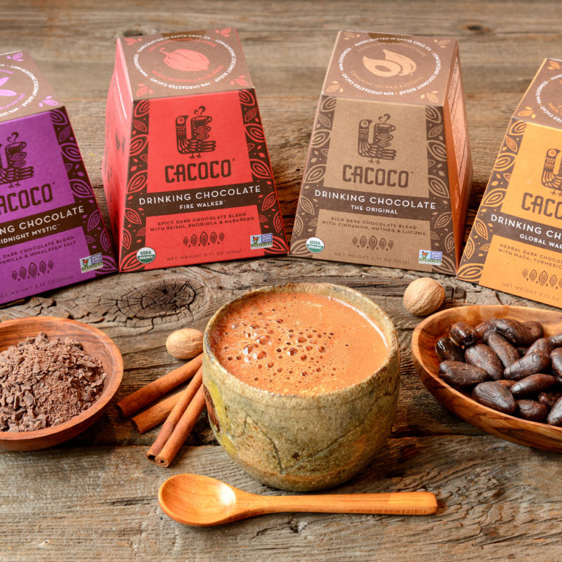 Certified Paleo, Certified Vegan, and Non-GMO Drinking Chocolate from CACOCO Original, Global Warrior, Midnight mystic, and Fire Walker