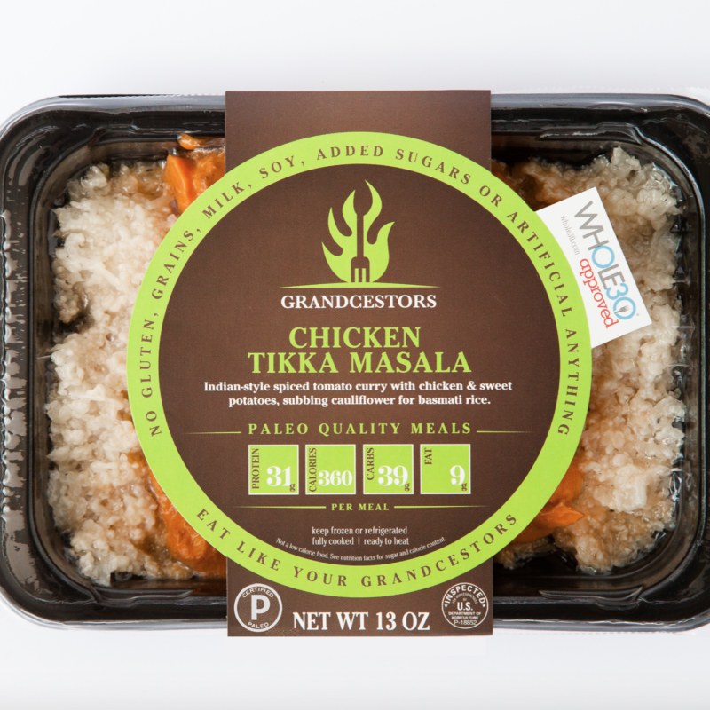 Certified Paleo and Whole30 Approved Chicken Tikka Masala Grancestors pre-made paleo meals