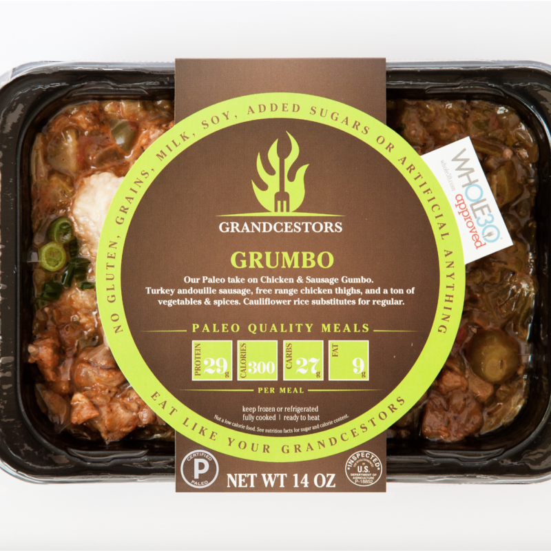 Certified Paleo and Whole30 Approved GrumboGrancestors pre-made paleo meals