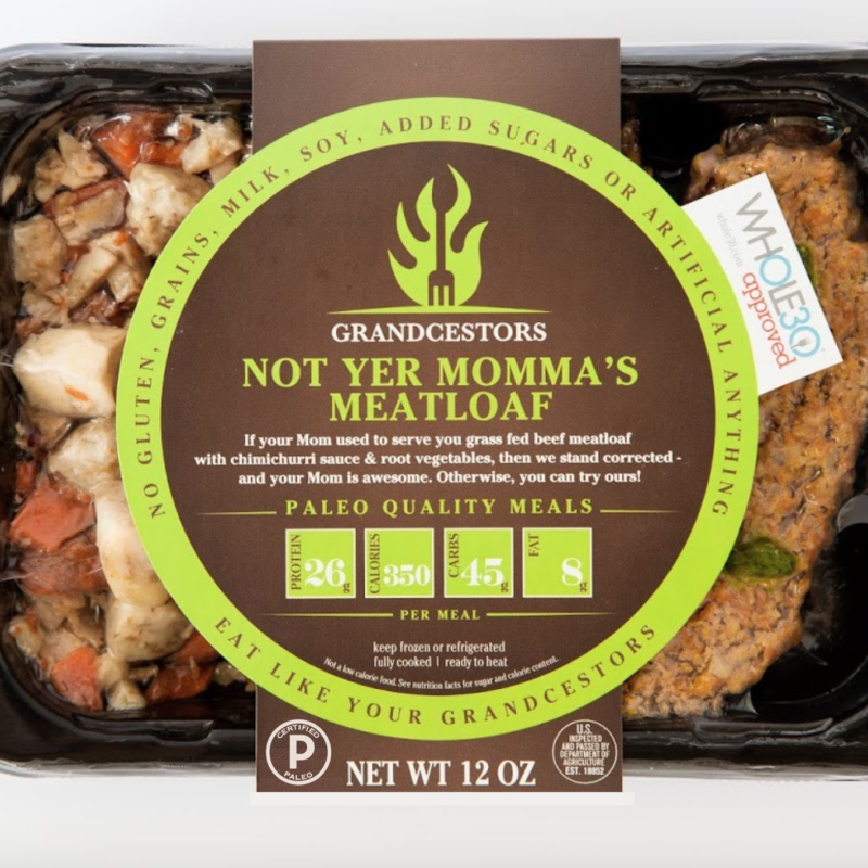 Certified Paleo and Whole30 Approved Not yer Momma's Meatloaf Grancestors pre-made paleo meals