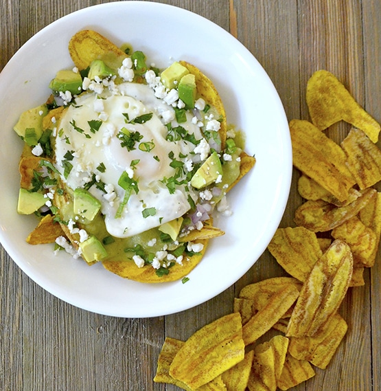Chilaquiles - Artisan Tropic is a family with a passion for making the best tasting and most nutritious plantain and cassava chips. Artisan Tropic Plantain Strips and Cassava Strips contain only three ingredients or less! They have no preservatives or artificial flavors. #paleo #certifiedpaleo #paleovegan