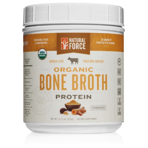 Grass-fed Organic Beef Bone Broth (Turmeric) - Natural Force - KETO Certified - Paleo Foundation