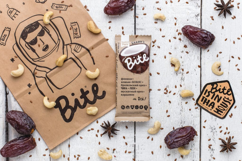 Take a Bite Coconute - BioFoodLab - Bite Bar is 100% raw nut and fruit bar from Russia made by BioFoodLab company. All the ingredients can be read, understood, and pronounced by everyone. Made from 100% natural ingredients. No use of chemical additives. #certifiedpaleo #paleo