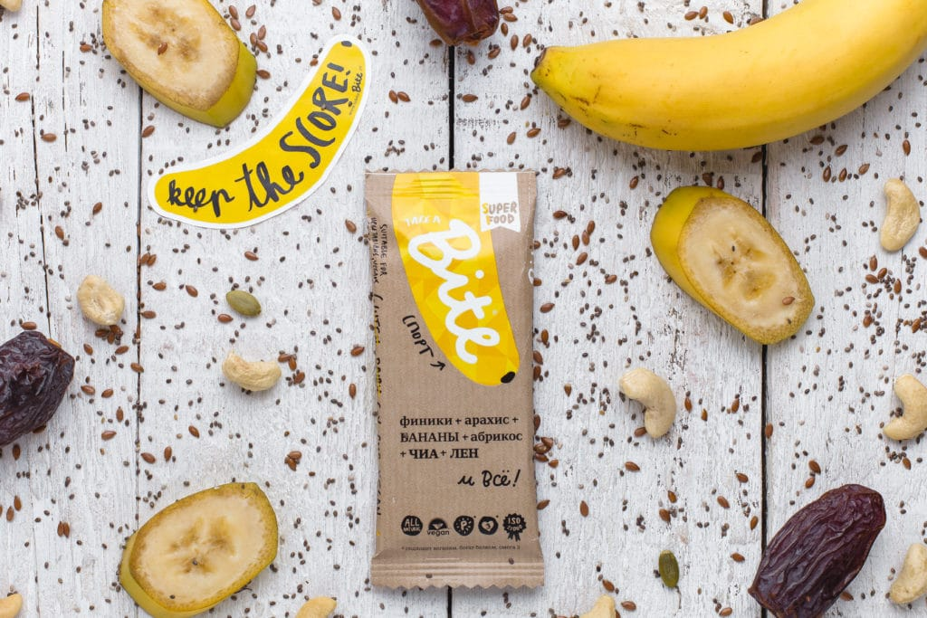 Take a Bite Banana - BioFoodLab - Bite Bar is 100% raw nut and fruit bar from Russia made by BioFoodLab company. All the ingredients can be read, understood, and pronounced by everyone. Made from 100% natural ingredients. No use of chemical additives. #certifiedpaleo #paleo