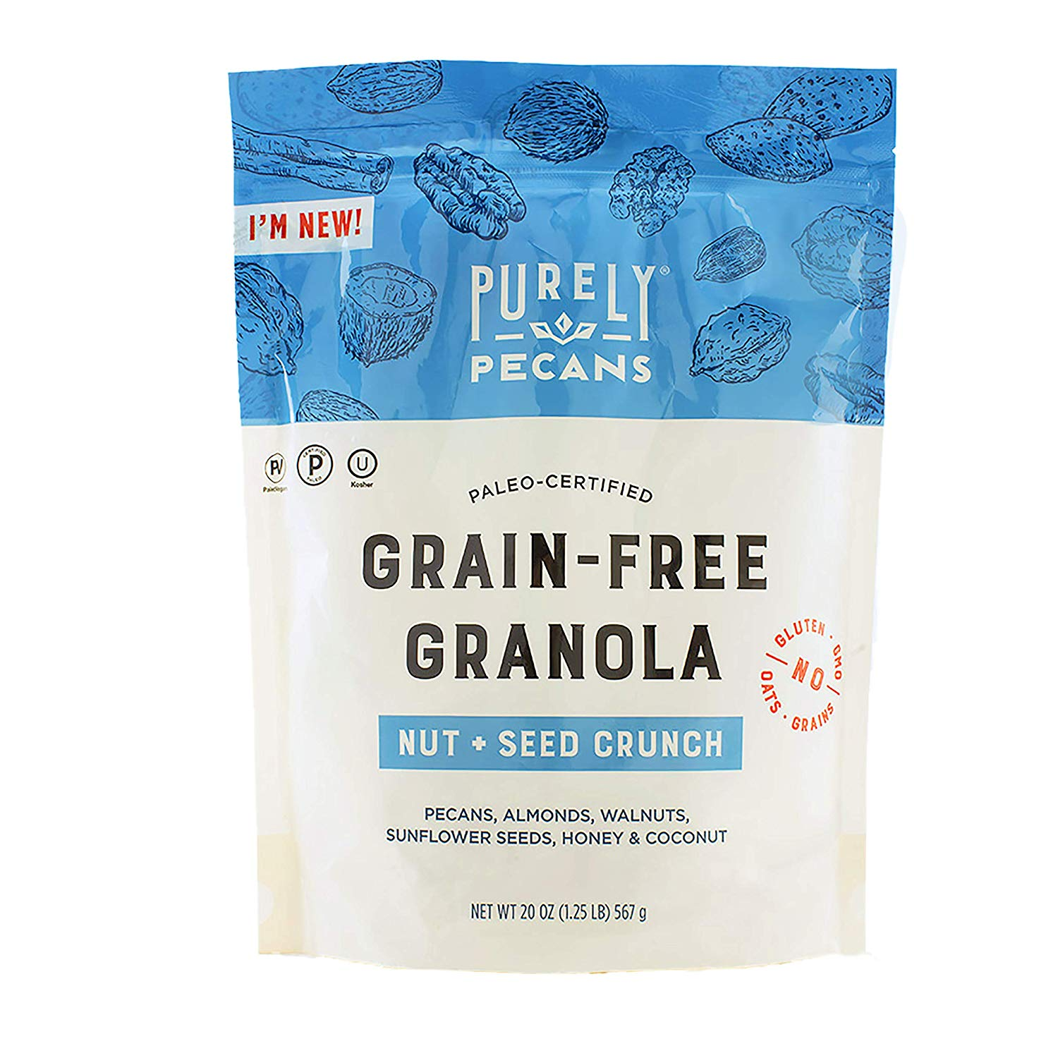 Nut + Seed Crunch - Grain-free Granola - Purely Pecans - Certified Paleo, PaleoVegan by the Paleo Foundation