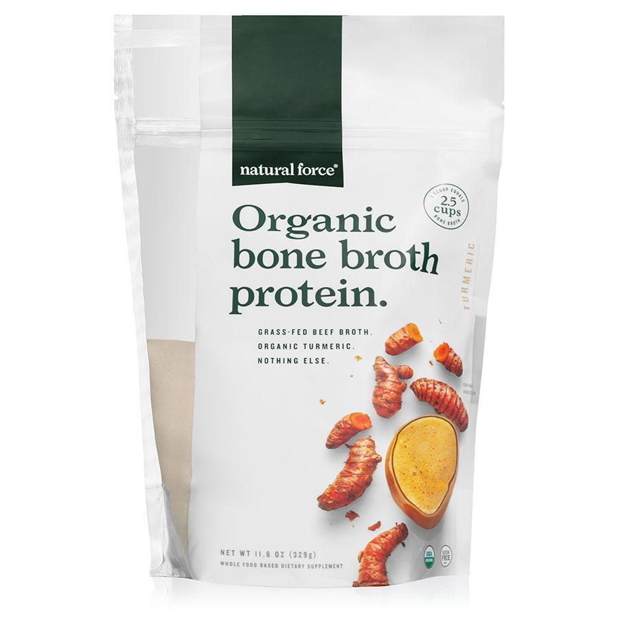 Organic Bone Broth Protein Turmeric - Natural Force - Certified Paleo Friendly, Keto Certified by the Paleo Foundation