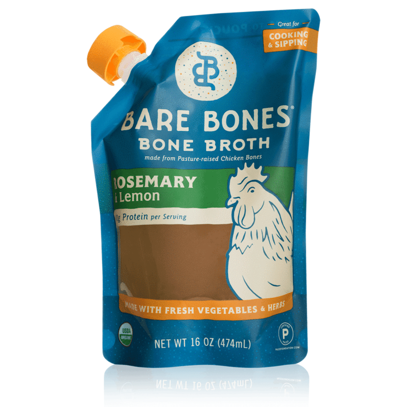 Organic Chicken Bone Broth - Rosemary & Lemon - Bare Bones Broth - Certified Paleo, KETO Certified by the Paleo Foundation