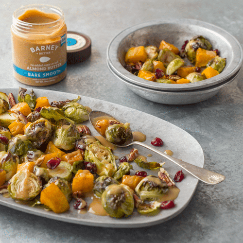 Roasted Brussels Sprouts and Squash with Almond Butter, Pecans & Cranberries - Barney Butter - Certified Paleo, Paleo Vegan - Paleo Foundation
