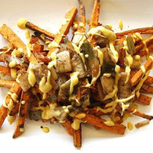Sweet Potato Kimchi Fries with Smoked Cheesy Sauce - The Honest Stand - Certified Paleo, Paleo Vegan - Paleo Foundation