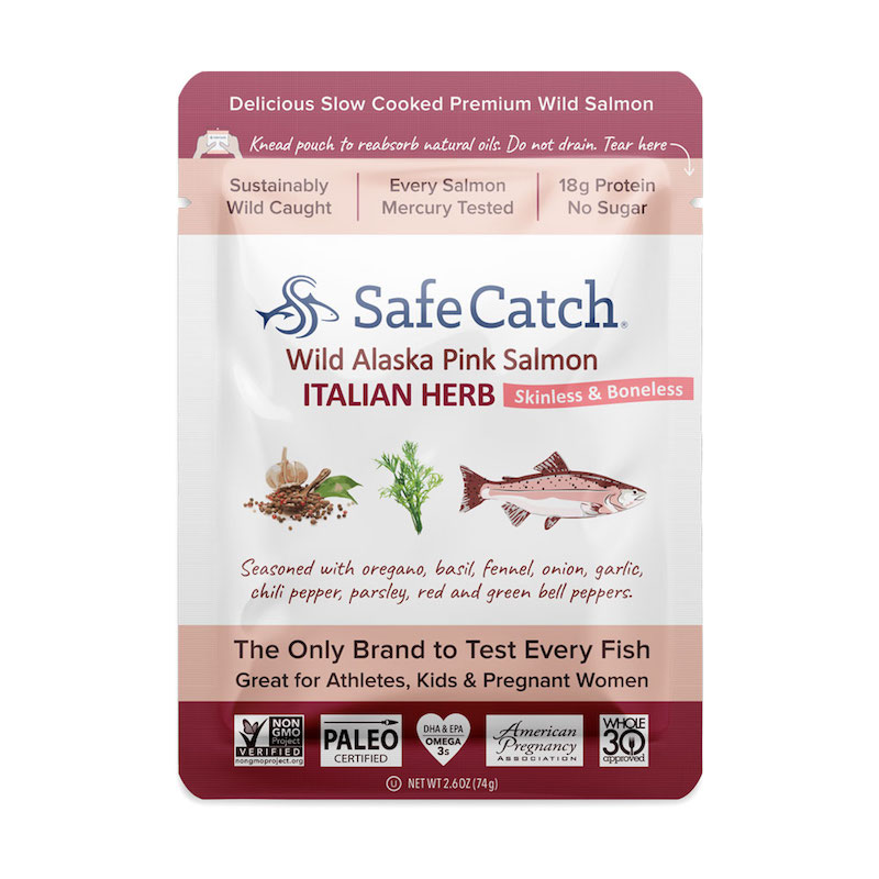 Wild Alaska Pink Salmon - Italian Herb pouch - Safe Catch - Certified Paleo, KETO Certified by the Paleo Foundation