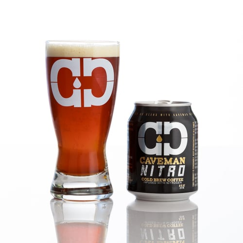 caveman coffee co nitro cold brew with glass
