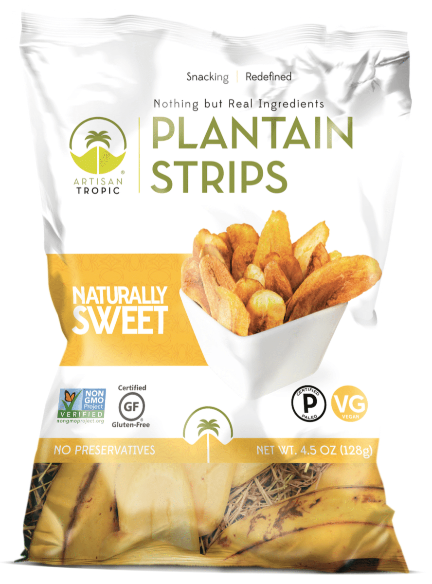 Naturally Sweet Plantain Chips - Artisan Tropic is a family with a passion for making the best tasting and most nutritious plantain and cassava chips. Artisan Tropic Plantain Strips and Cassava Strips contain only three ingredients or less! They have no preservatives or artificial flavors. #paleo #certifiedpaleo #paleovegan