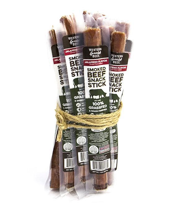100% Grass Fed Beef Snack Sticks - Jalapeno - Western Grassfed - Certified Paleo, Keto Certified by the Paleo Foundation
