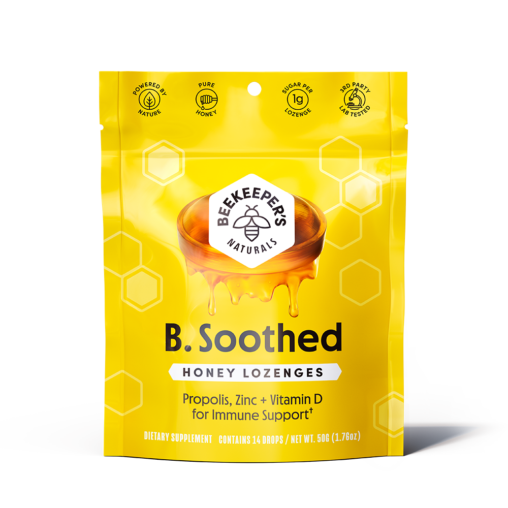 B Soothed Honey Lozenges - Beekeeper's Naturals - Certified Paleo, Keto Certified by the Paleo Foundation