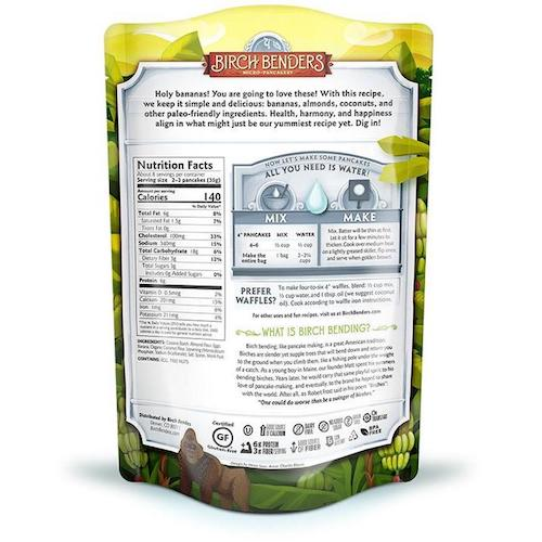 Banana Paleo Pancake Mix back - Birch Benders - Certified Paleo - Paleo Foundation