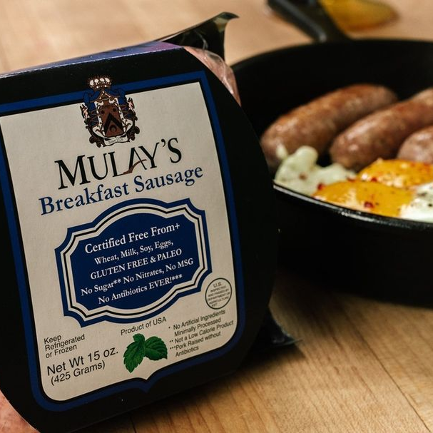 Breakfast Sausage In Skillet - Mulay's Sausage - Certified Paleo Keto Certified by the Paleo Foundation