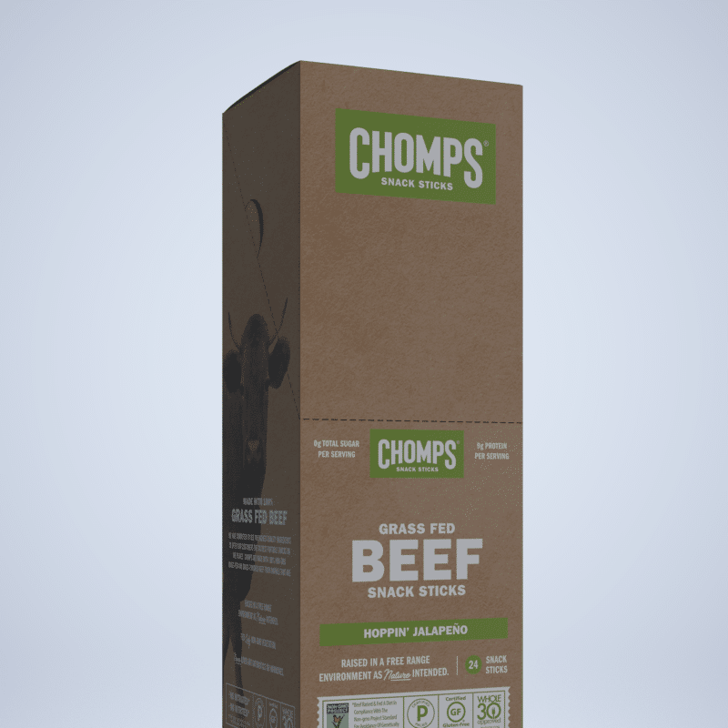 Hoppin' Jalapeno - Chomps Snack Sticks are made with 100% Non-GMO Grass-Fed Angus Beef from New Zealand. They are free of all artificial ingredients and preservatives. Get to Chompin'! If you're looking for great tasting, Gluten Free, Sugar Free, Certified Paleo healthy snacks, you've come to the right place! #paleo #certifiedpaleo