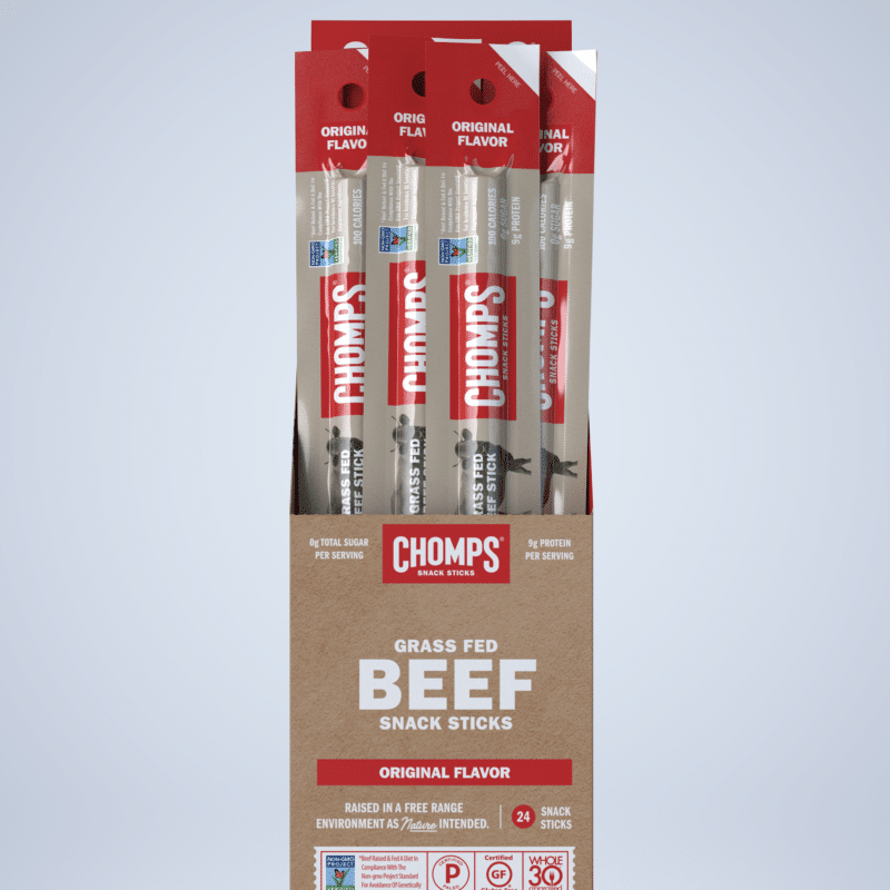 Original - Chomps Snack Sticks are made with 100% Non-GMO Grass-Fed Angus Beef from New Zealand. They are free of all artificial ingredients and preservatives. Get to Chompin'! If you're looking for great tasting, Gluten Free, Sugar Free, Certified Paleo healthy snacks, you've come to the right place! #paleo #certifiedpaleo