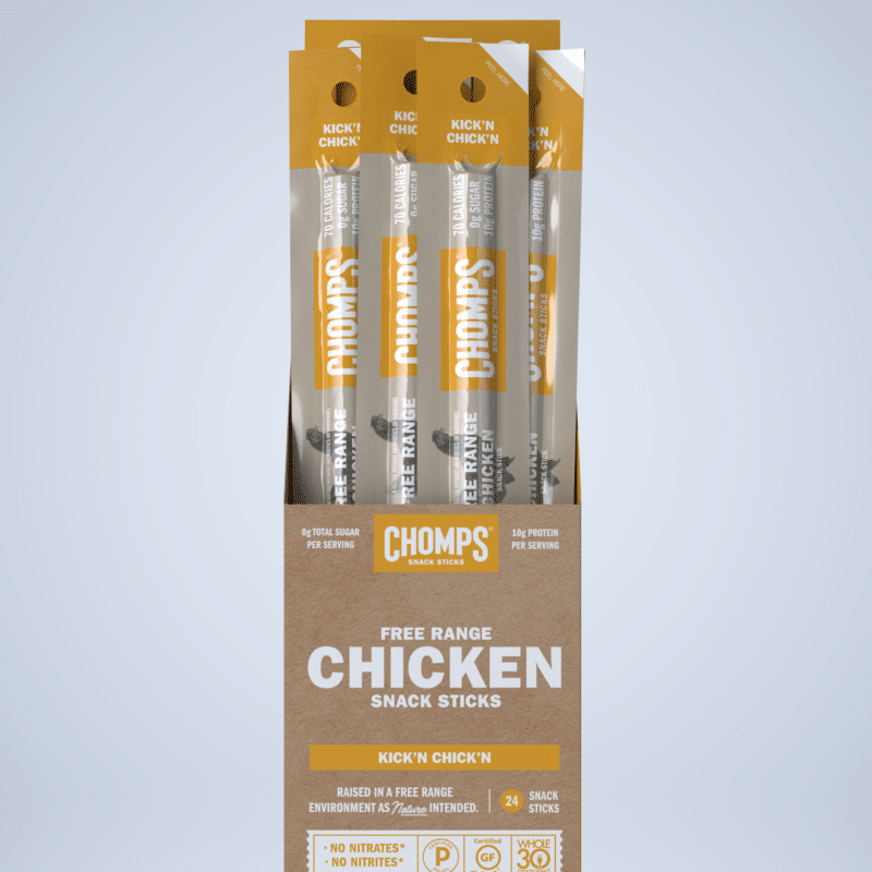 Kick'n Chicken - Chomps Snack Sticks are made with 100% Non-GMO Grass-Fed Angus Beef from New Zealand. They are free of all artificial ingredients and preservatives. Get to Chompin'! If you're looking for great tasting, Gluten Free, Sugar Free, Certified Paleo healthy snacks, you've come to the right place! #paleo #certifiedpaleo
