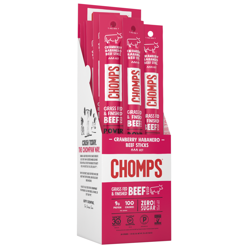 Cranberry Habanero Beef - Chomps Snack Sticks - Certified Paleo, Keto Certified by the Paleo Foundation