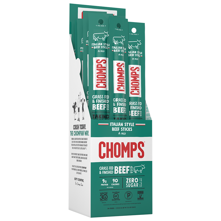 Italian Style Beef - Chomps Snack Sticks - Certified Paleo, Keto Certified by the Paleo Foundation