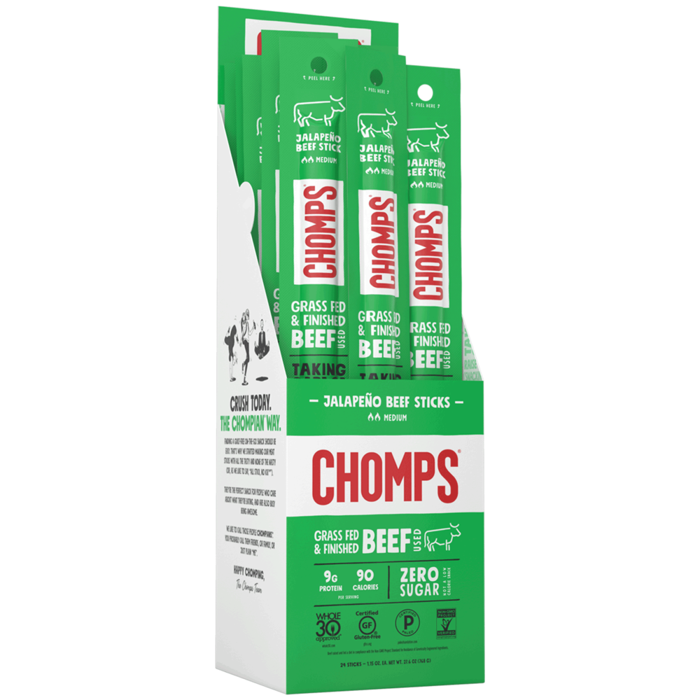 Jalapeño Beef - Chomps Snack Sticks - Certified Paleo, Keto Certified by the Paleo Foundation