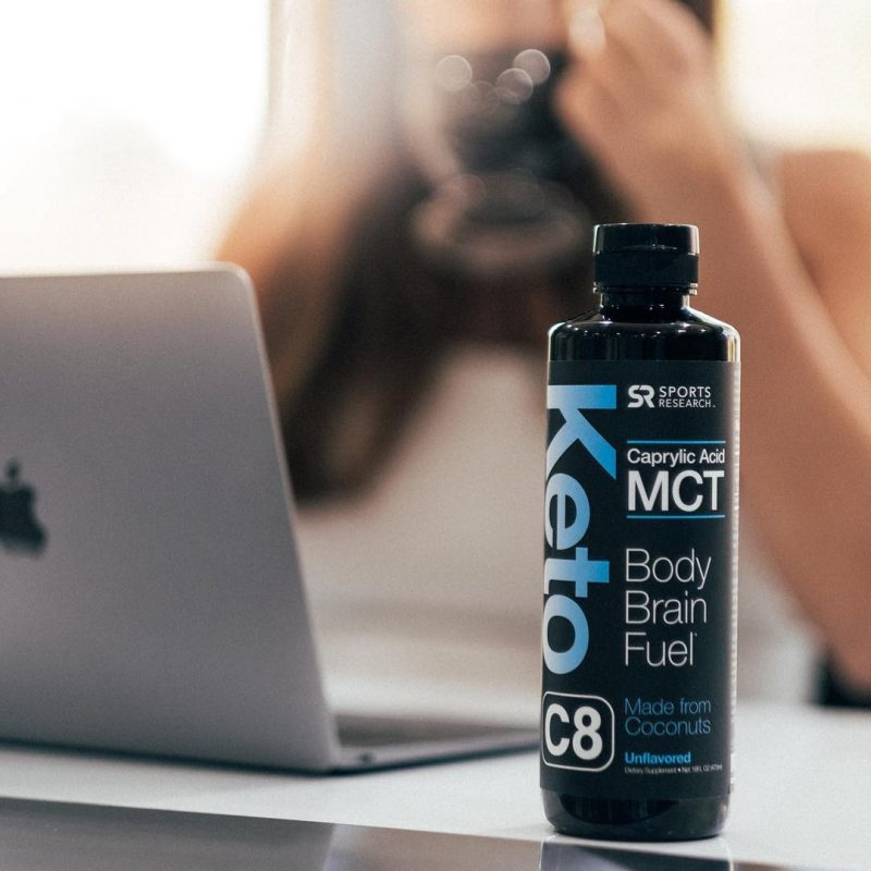 Keto C8 MCT Oil 2 - Chocolate - Sports Research - Certified Paleo Friendly, KETO Certified by the Paleo Foundation