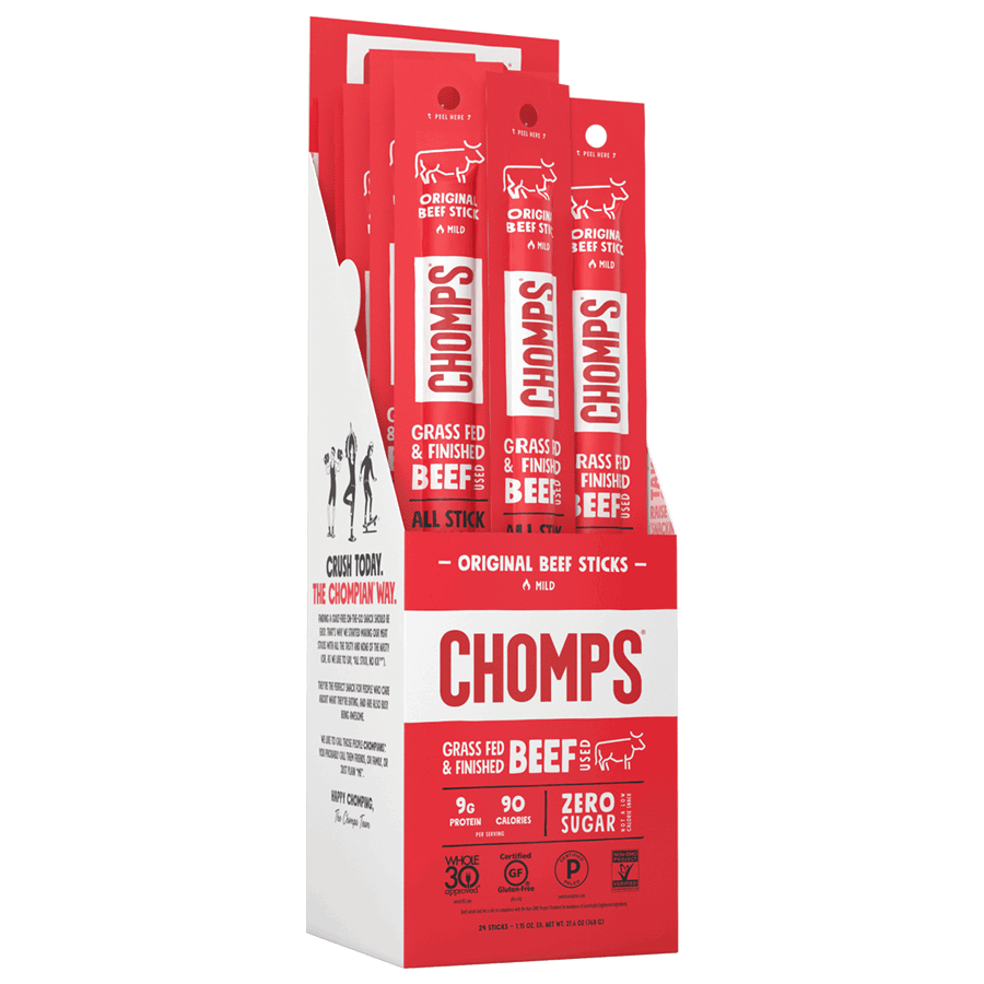 Original Beef - Chomps Snack Sticks - Certified Paleo, Keto Certified by the Paleo Foundation