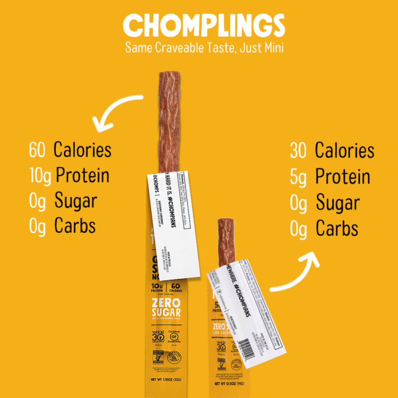 Original Turkey Chomplings 10 - Chomps Snack Sticks - Certified Paleo, Keto Certified by the Paleo Foundation