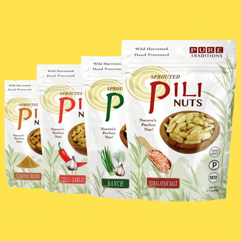 Pili Nuts line up - Pure Traditions - Certified Paleo, KETO Certified by the Paleo Foundation