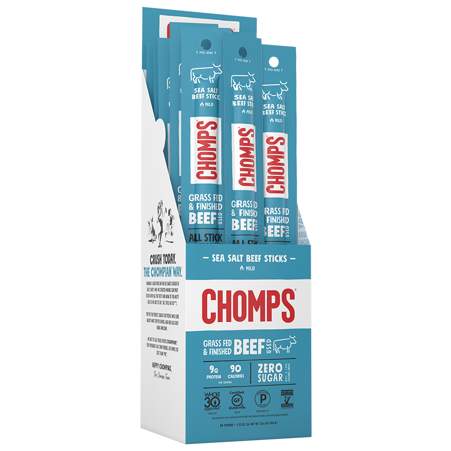 Sea Salt Beef - Chomps Snack Sticks - Certified Paleo, Keto Certified by the Paleo Foundation