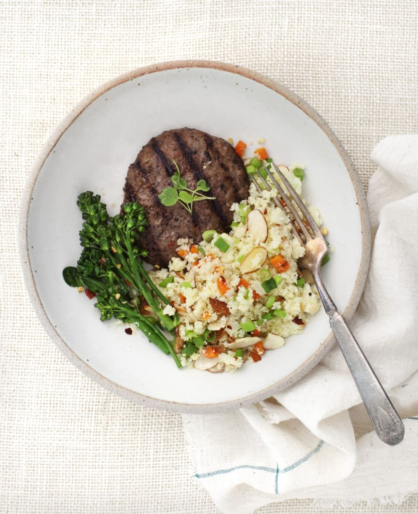 Tribalí Foods - Cauliflower Rice with broccolini, carrots, almonds and orange-sesame dressing - Certified Paleo - Paleo Foundation