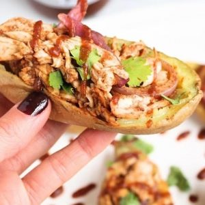 BBQ chicken stuffed sweet potato skins - True Made Foods - Certified Paleo, Paleo Vegan - Paleo Foundation