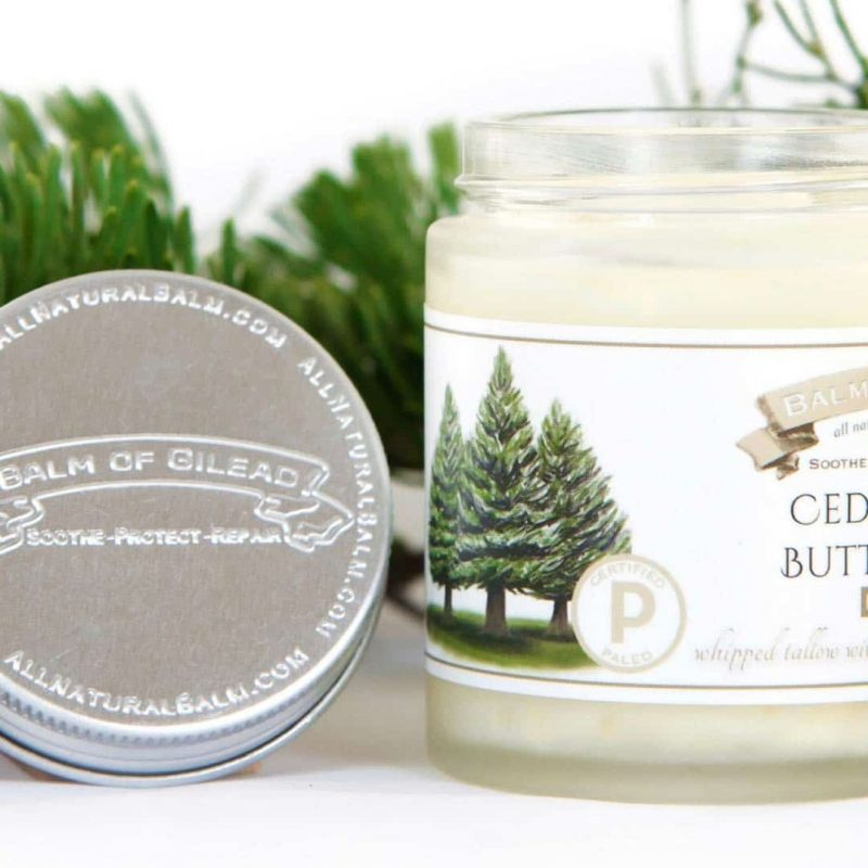 Cedar & Fir Butter BalmBalm of Gilead - What goes on our skin CAN penetrate into our bloodstream. While not everything can penetrate, many things certainly do! And as our society has become increasingly aware of harmful, and often unnecessary, chemicals, additives, and preservatives, both in diet and in body care, Balm of Gilead has emerged as a safe and effective brand of skin care. #certifiedpaleo #paleo