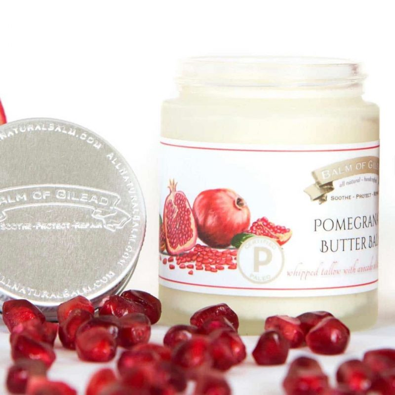 Pomegranate Butter Balm - Balm of Gilead - What goes on our skin CAN penetrate into our bloodstream. While not everything can penetrate, many things certainly do! And as our society has become increasingly aware of harmful, and often unnecessary, chemicals, additives, and preservatives, both in diet and in body care, Balm of Gilead has emerged as a safe and effective brand of skin care. #certifiedpaleo #paleo