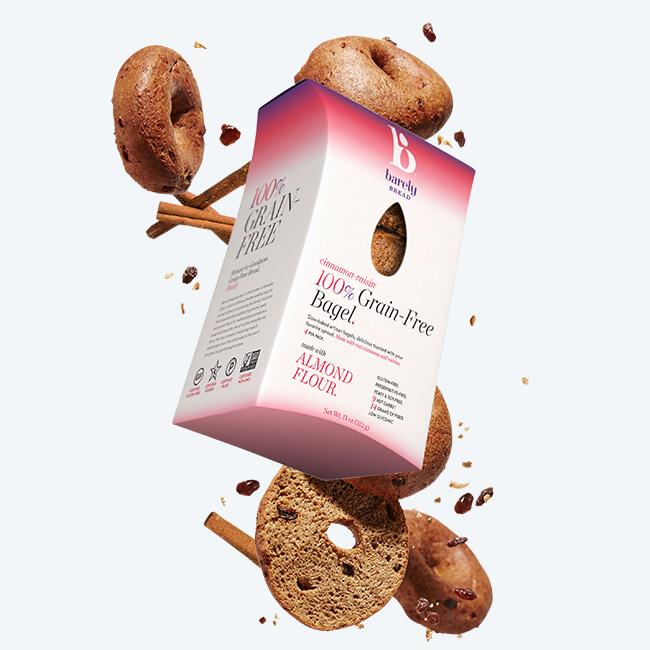 cinnamon raisin 100% Grain-Free Bagel - Barely Bread - Certified Paleo by the Paleo Foundation