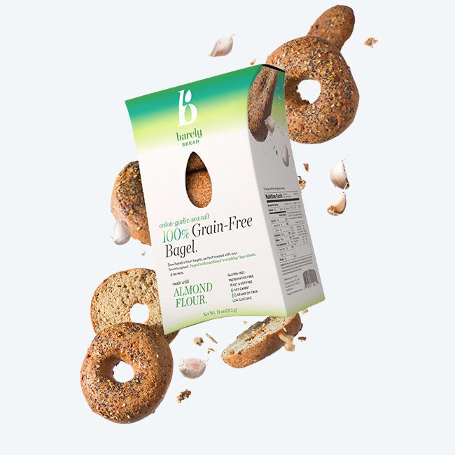 onion garlic sea salt 100% Grain-Free Bagel - Barely Bread - Certified Paleo by the Paleo Foundation