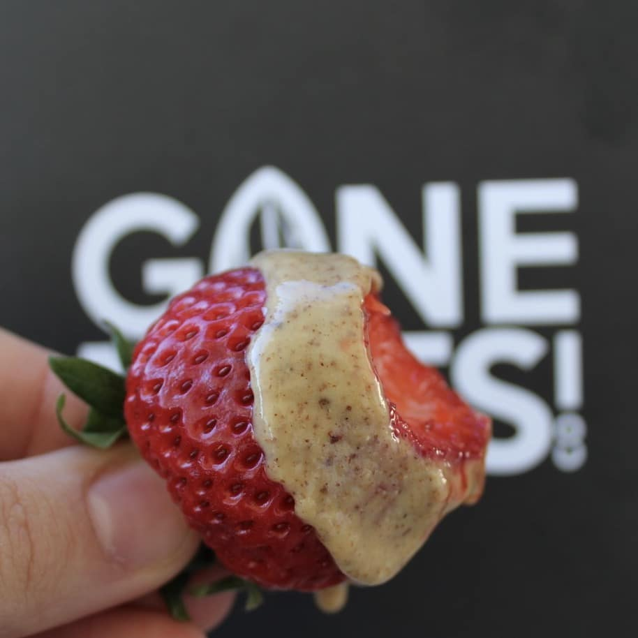 Strawberry with Almond Butter - Gone Nuts - Gone Nuts' almond butters are made of the highest quality ingredients to provide a gluten-free, grain-free and refined-sugar free product. All of the almond butters are incredibly crave-worthy, with your health as a first priority! #certifiedpaleo #paleofriendly #KETOcertified #paleo