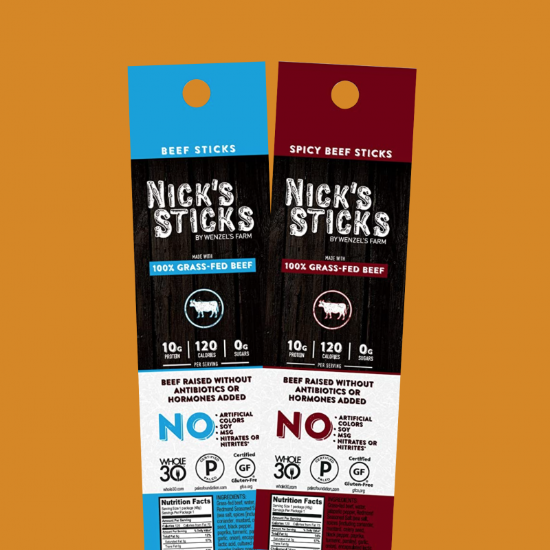 100% Grass-Fed Beef Snack Sticks 10 - Nick's Sticks - Certified Paleo, Keto Certified by the Paleo Foundation