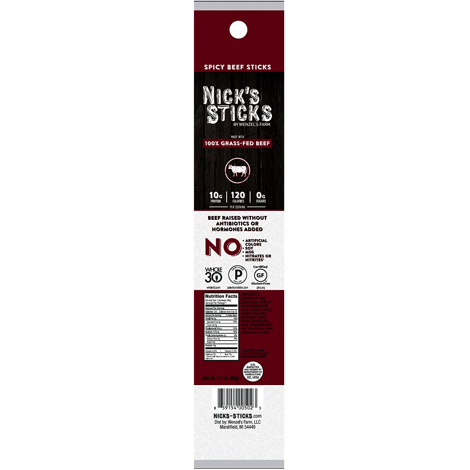 100% Grass-Fed Spicy Beef Snack Sticks - Nick's Sticks - Certified Paleo, Keto Certified by the Paleo Foundation