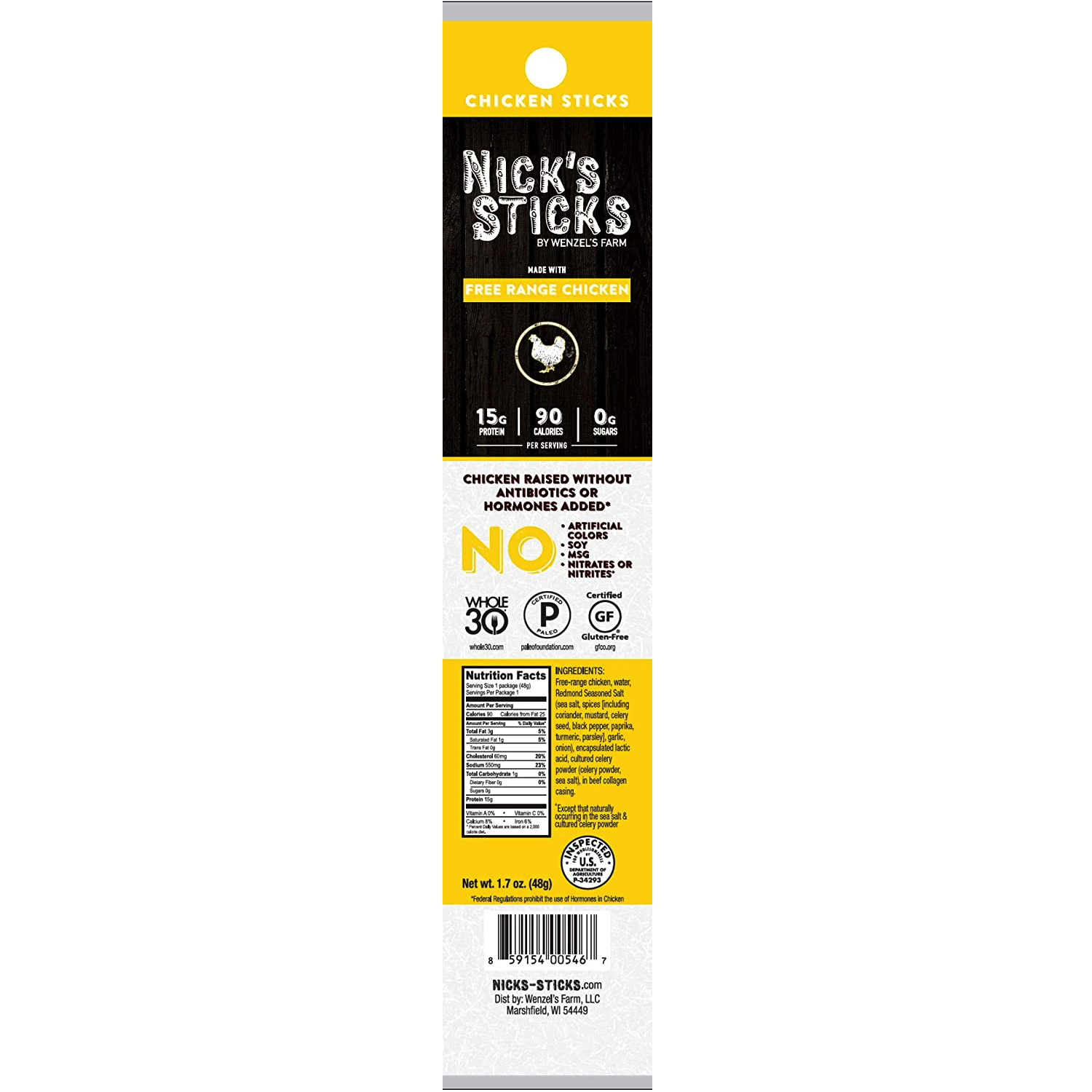 Free Range Chicken Snack Sticks - Nick's Sticks - Certified Paleo, Keto Certified by the Paleo Foundation